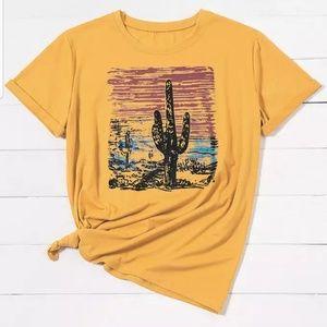 cactus boho western tee shirt